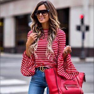 LIZA   Striped Bell Sleeve Top